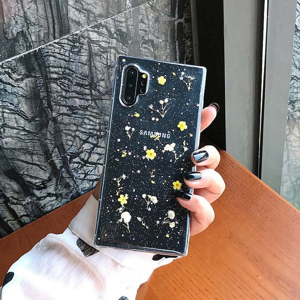 Dried Real Flowers Samsung Case Glitter Powders Clear Cases