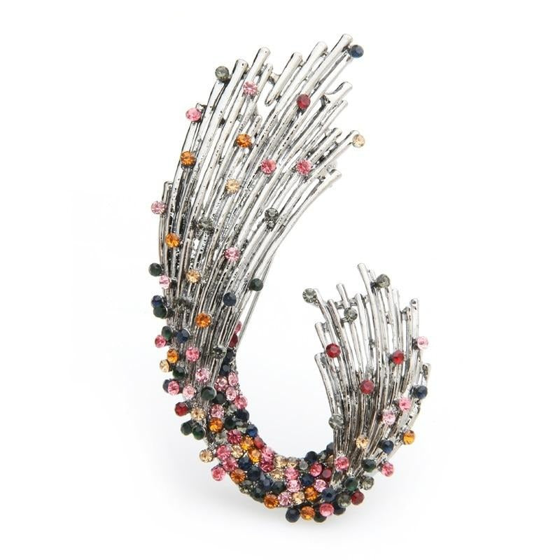 Multicolor Rhinestone Geometric shape Brooch Pin