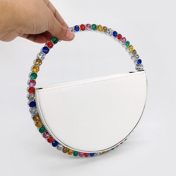 Colour Diamond Round Evening Bag New Rhinestone Dinner Clutch Purse