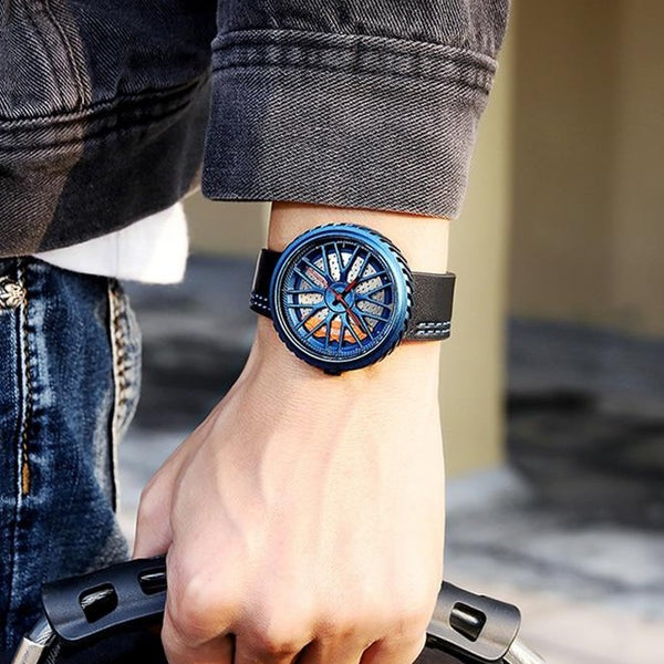 Top Luxury Brand Men Analog Digital Leather Sports Watches Men's Army Military Watch Car Wheel Rim Hub Rotating Dial