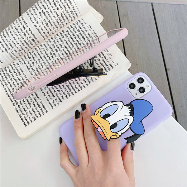3D Cute Cartoon Micky Mouse Minnie Donald Duck Phone Case For iPhone 11 Pro X/XS/XR Max 6/7/8 Plus Back Cover Popsocket Finger Holder Stand