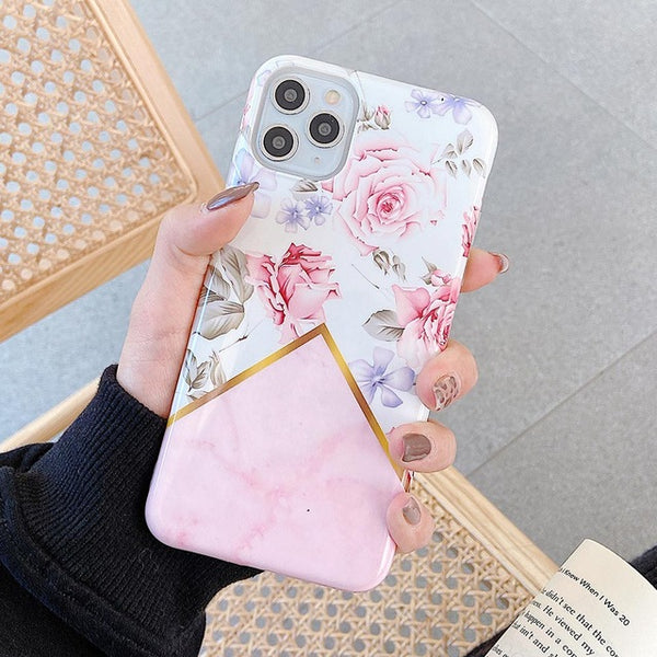 Unique Flower & Marble Design iPhone Case