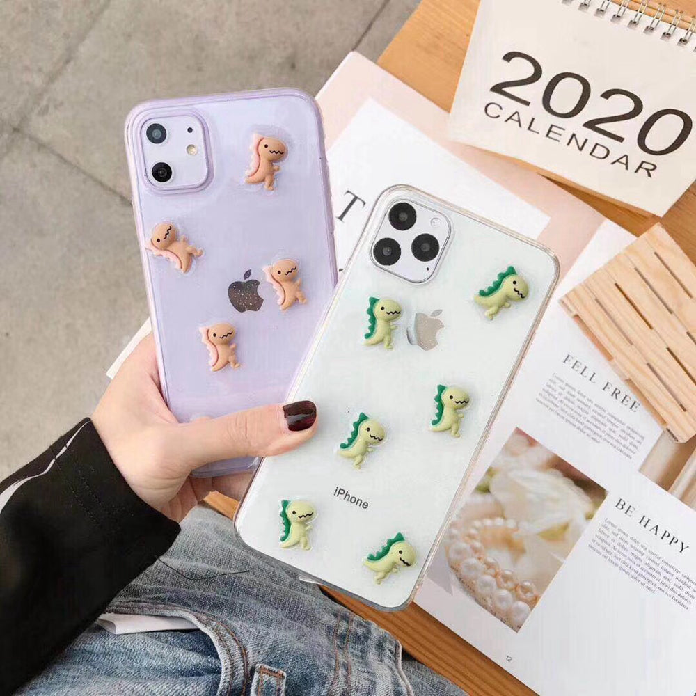 Dinosaur Phone Case Cute 3D Clear Soft Silicone iPhone Cases