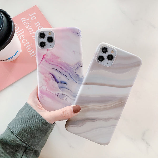 Art Granite Marble Phone Case Matte iPhone Cover