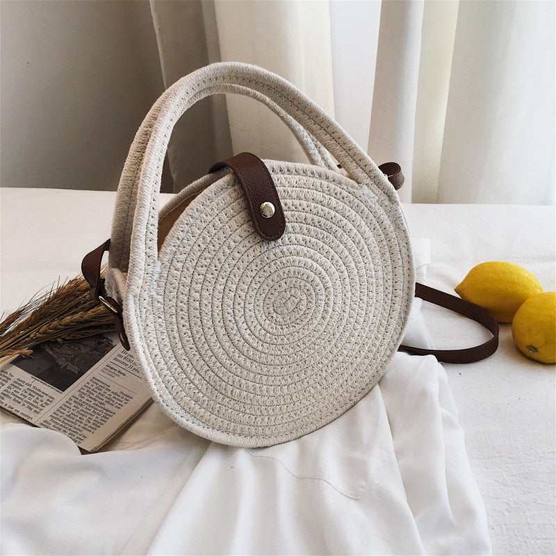 2020 NEW Women's Summer Boho Cotton Woven HandBag Fashion Handmade Circle Crossbody/Shoulder Bag