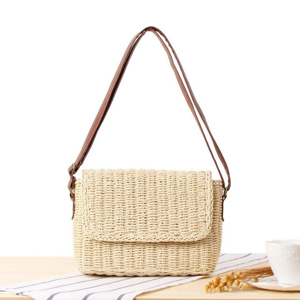 Hand Woven Bohemian Straw Bag Flap Cover Shoulder Messenger Bag