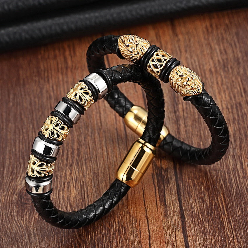 Men's Genuine Leather Stainless Steel Charm Bracelets Bangles