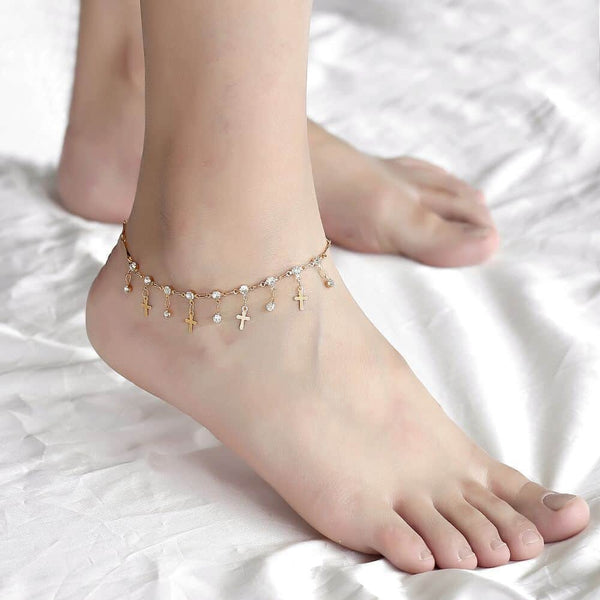 CZ Rose Gold Anklet Chain Cross Charm Foot Jewelry