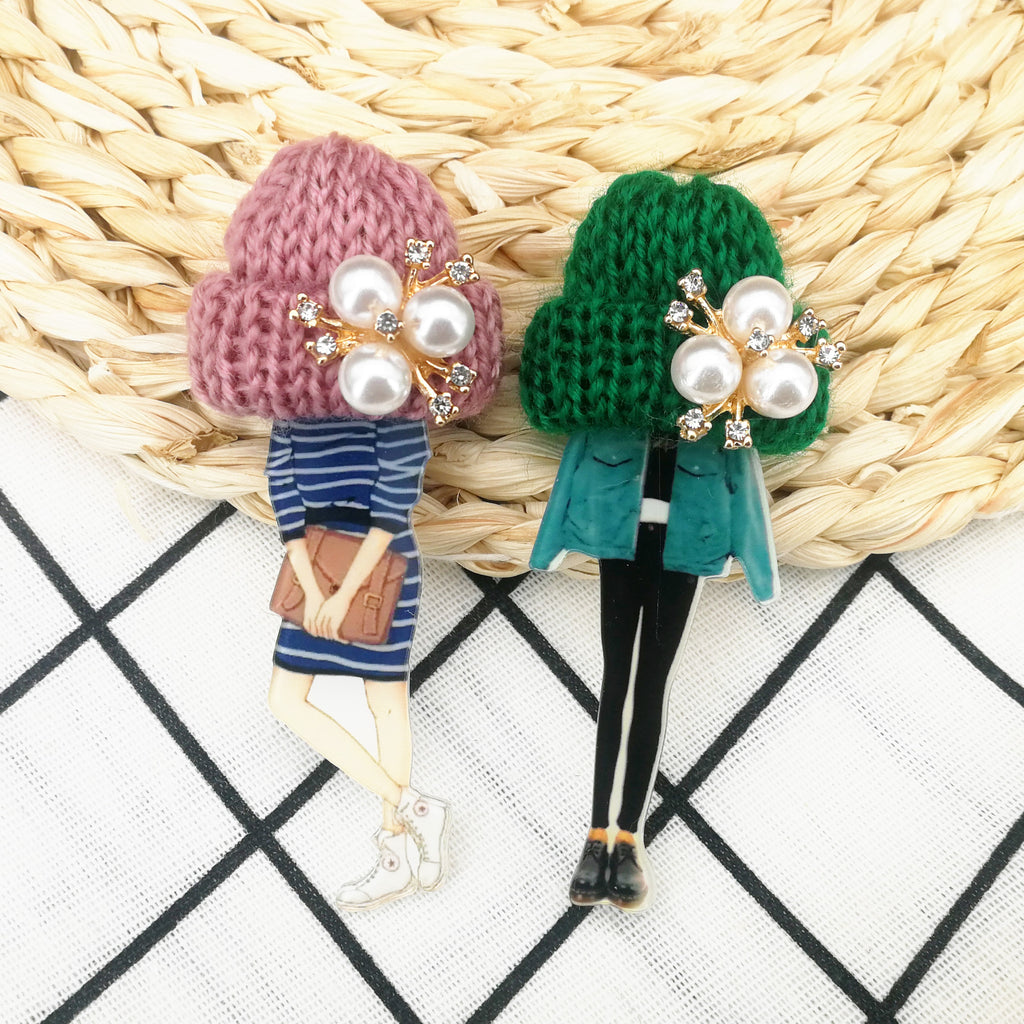 Girls Cute Lovely Brooches Wool Hat Cartoon Badges Brooch Acrylic Pins