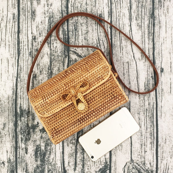 Women's Handmade Hollow out Woven Bali Rattan Summer Beach Bohemian Mini Shoulder Bag Purse