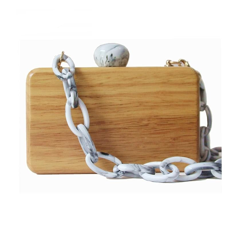 Brand Fashion New Women Wooden Casual Chain Clutch
