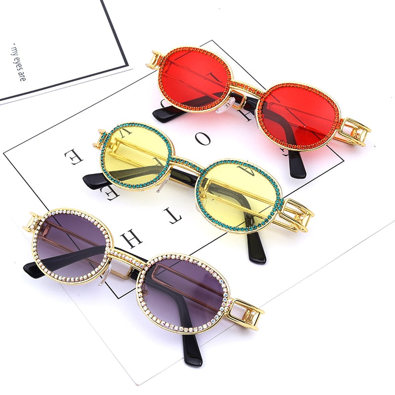 Steampunk Colorful Small Round Rhinestone Sunglasses