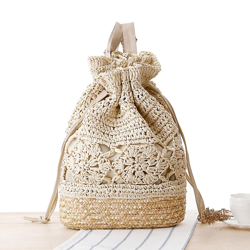 Handmade Knitted Flower Drawstring Lace Crochet Straw Beach Bags