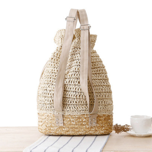 Handmade Knitted Flower Drawstring Lace Crochet Straw Beach Backpack