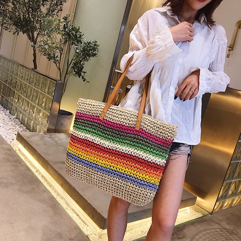 Rainbow Color Rattan Beach Bag Woven Handmade Knitted Large Capacity Tote