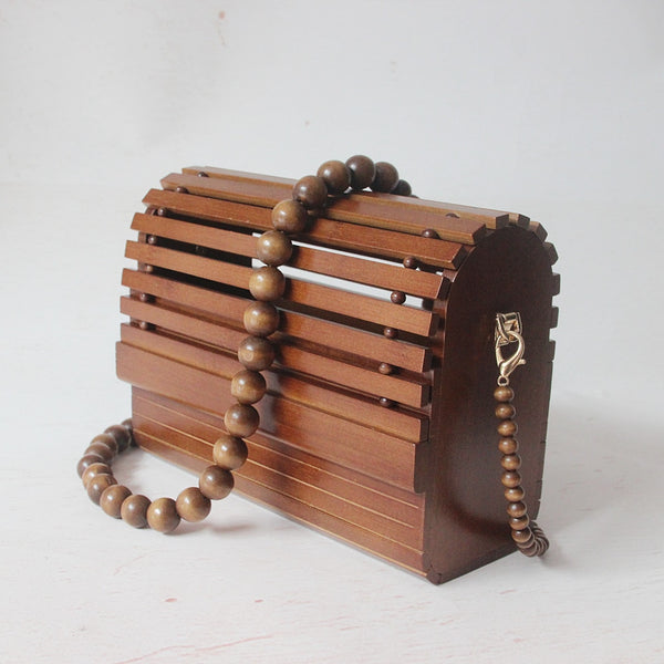 Vintage Wood Bamboo Clutch Bag Solid Elegant Wedding Handbag