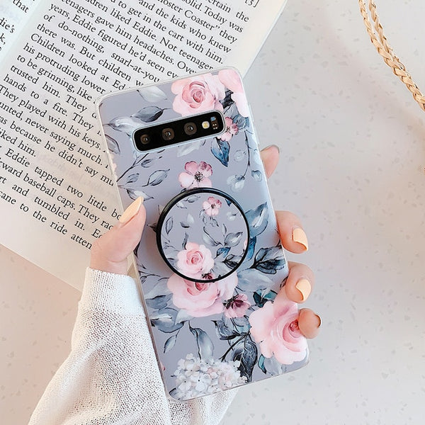 Vintage Floral Art Design Cute Beautiful Vintage Phone Case with Pop Socket for Samsung Galaxy A40 A50 S20 S10 S9 S8 Note 10 Plus S10E