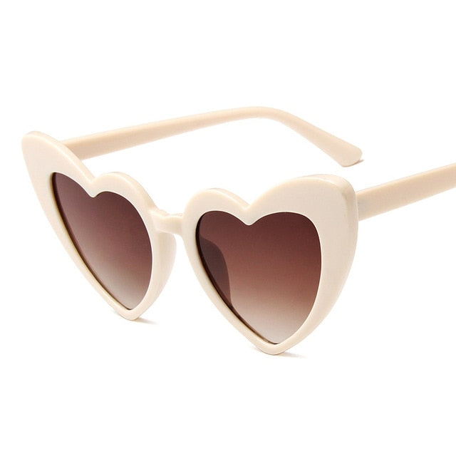 Love Heart Big Frame Vintage Cat Eye Sunglasses