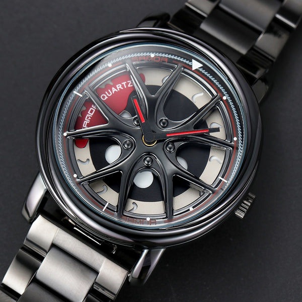 Premium Quartz Movement Car Rim Wheel Design Rotating Dial Watch
