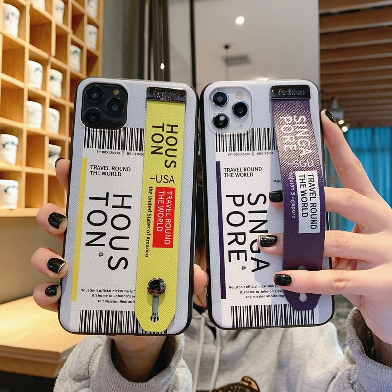INS Label Bar Code Wrist Strap Case iPhone Letter Ticket Hard Phone Holder Cover