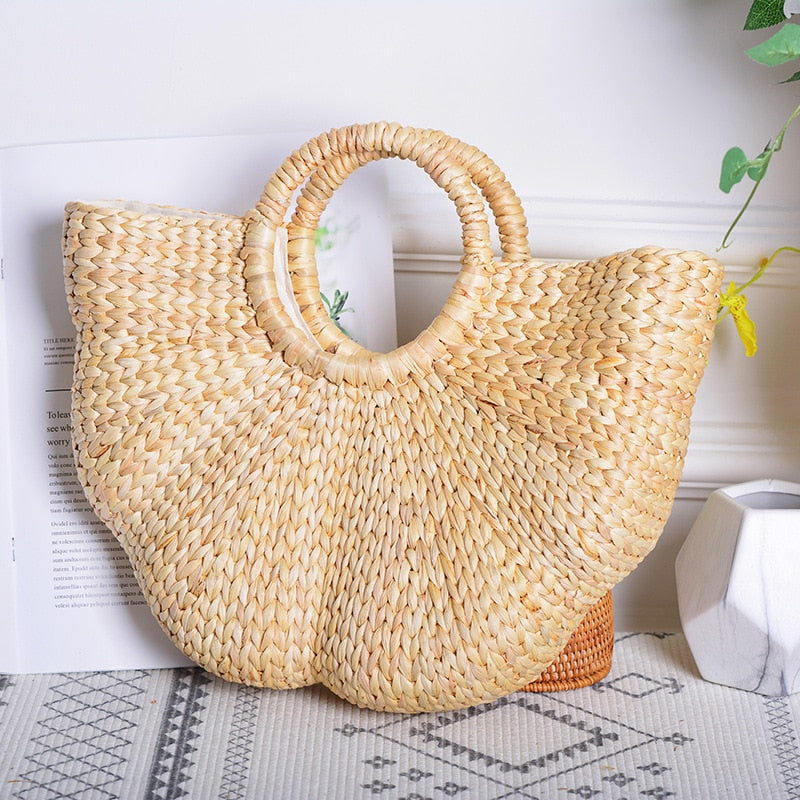 Handmade Bohemian Half-Moon Woven Straw Tote Bag with Handle