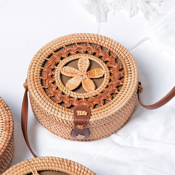Rattan Straw knit bag natural material Bamboo Woven - Hand woven Handmade eco-friendly Wicker Woven leather strap