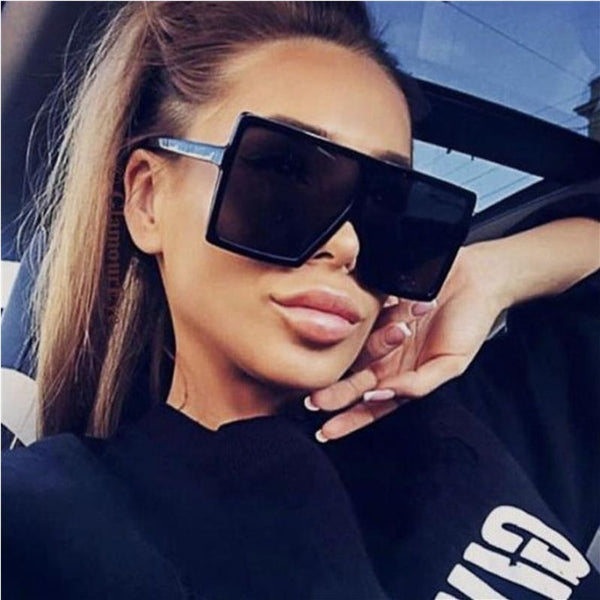 Luxury Brand Black Mirror Leopard Frame Big Square Sunglasses