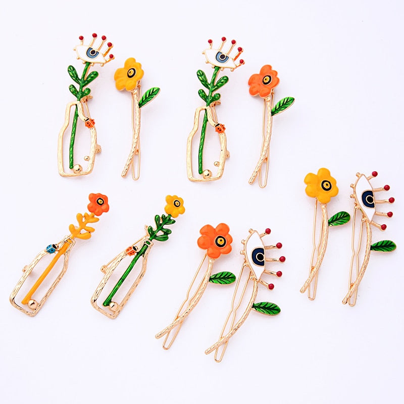 Multicolored Enamel Flowers Evil Eyes Brooch Hair Pins