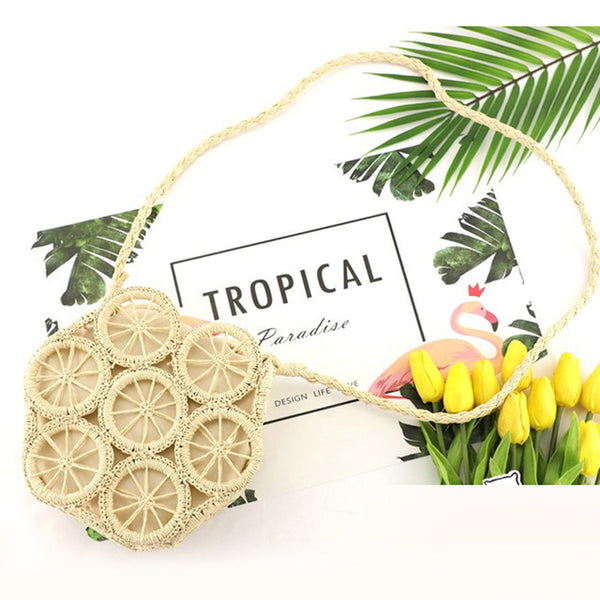 Straw rattan beach bag summer 2020 braun beige shoulder bag handbag handmade woven round holiday crossbody bag trend women ladies weaving