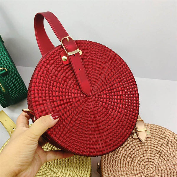 Colorful Small Woven Round Boho Jelly Tote Weave Shoulder Bags