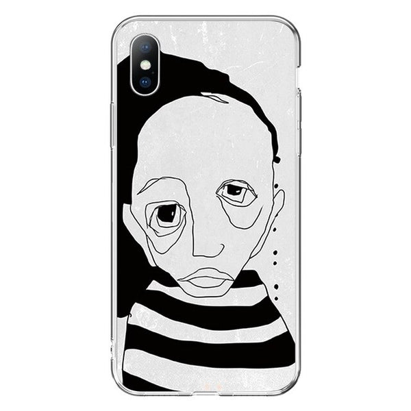 Art Face Phone Case For iPhone Funny Abstract Painting Cover