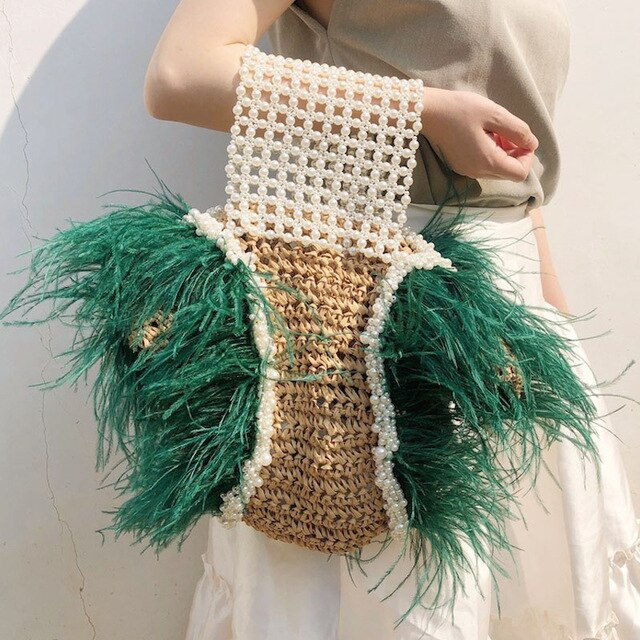 Interesting Weaving Pearl Natural Straw Bags Large Capacity Woven Bag