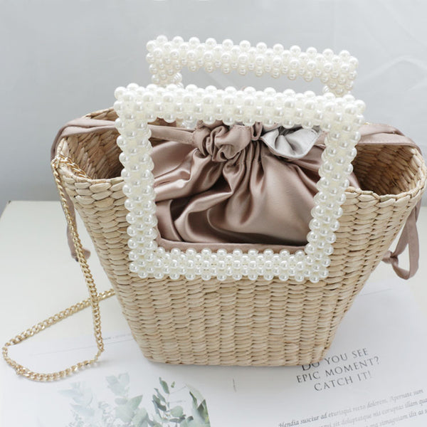 New Summer Handmade Pearl Straw Bag Brand Designer Weaving Pearl Bag Tote