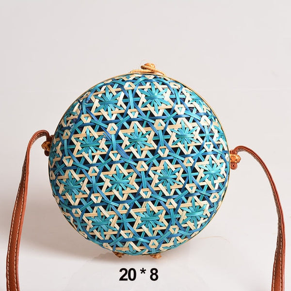 Rattan Straw knit bag natural material Bamboo Woven - Hand woven Handmade eco-friendly Wicker Woven leather strap wooden handle Patterned suitable for a beach holiday Round Circular New Summer 2020 boho beach tote Crossbody Bag Shoulder Bag Messenger Bag Fashion Bohemian Boho retro purse basket Blue Turquis