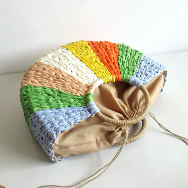 Multi-Color Patchwork Straw Bag Hand-Woven Casual Tote