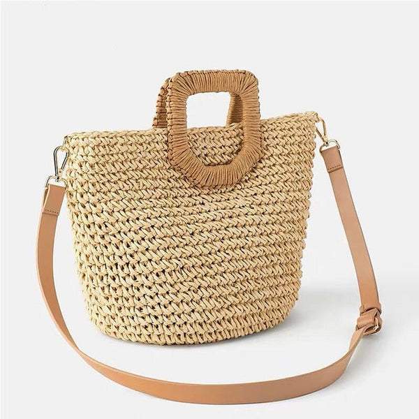 Bolso Playa Sac En Paille , Bolso Mujer Rattan Straw knit bag natural material Bamboo  Woven - Hand woven Handmade  eco-friendly Wicker Woven  leather strap