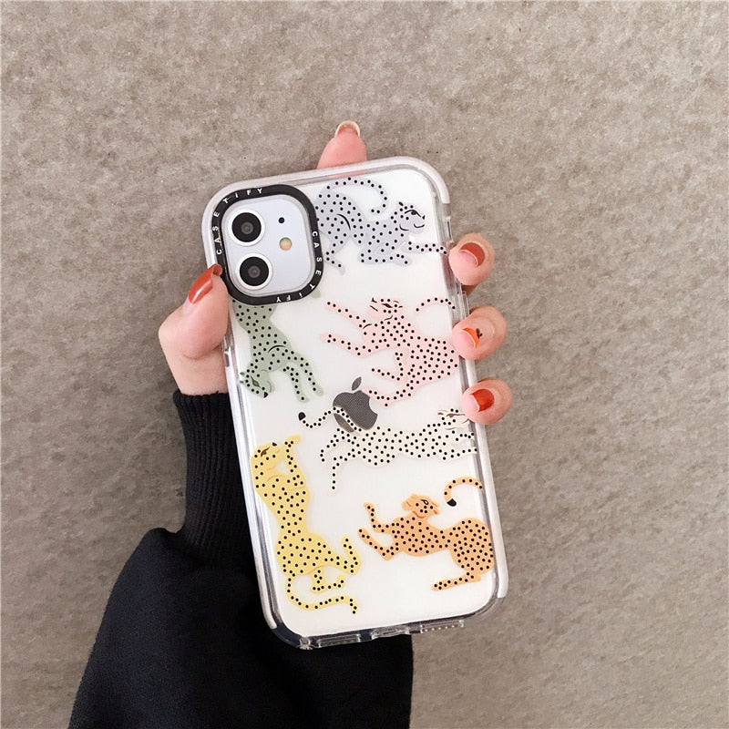 Polka Dots Panther Protective Phone Case Soft Silicone Clear iPhone Cover