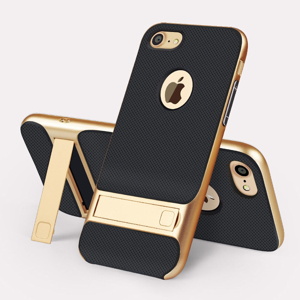 Luxury Design Black iPhone Case with Gold Kickstand - LABONNI
