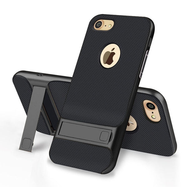 Luxury Design Black iPhone Case with Gold Kickstand