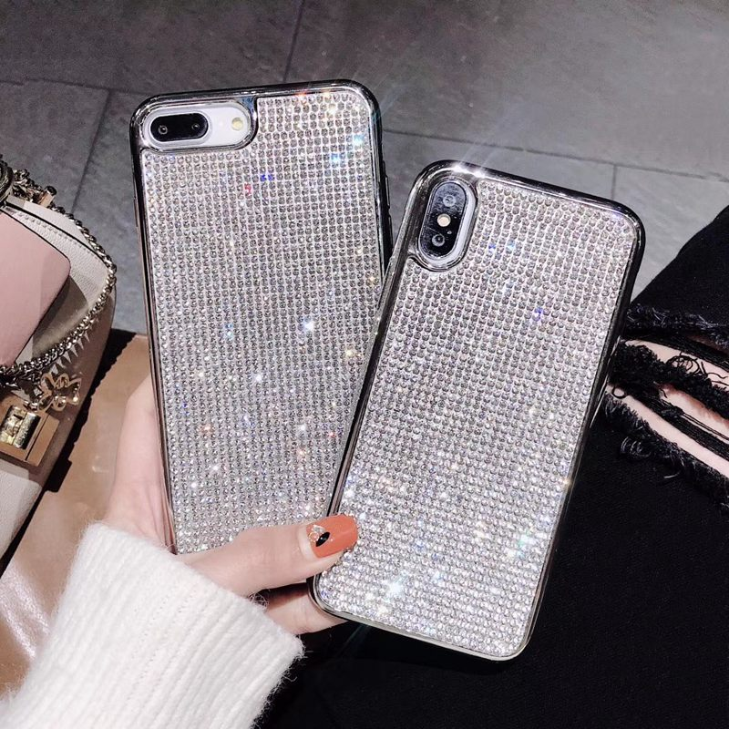 glitter bling flake rhinestones 3d look diamond jeweled  jewelled sparkle crystal glamorous cute  unique stunning different eye-catching best gift women girls iphone x iphone xs iphone xs max iphone 11 plus apple cases protective case iphone 7 8 6 Pro