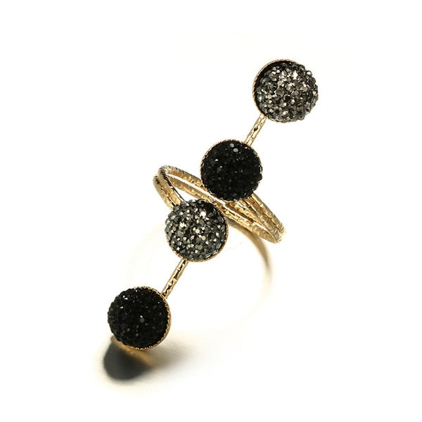 Vintage Antique Gold Black Rhinestone Opening Knuckle Finger Rings Set