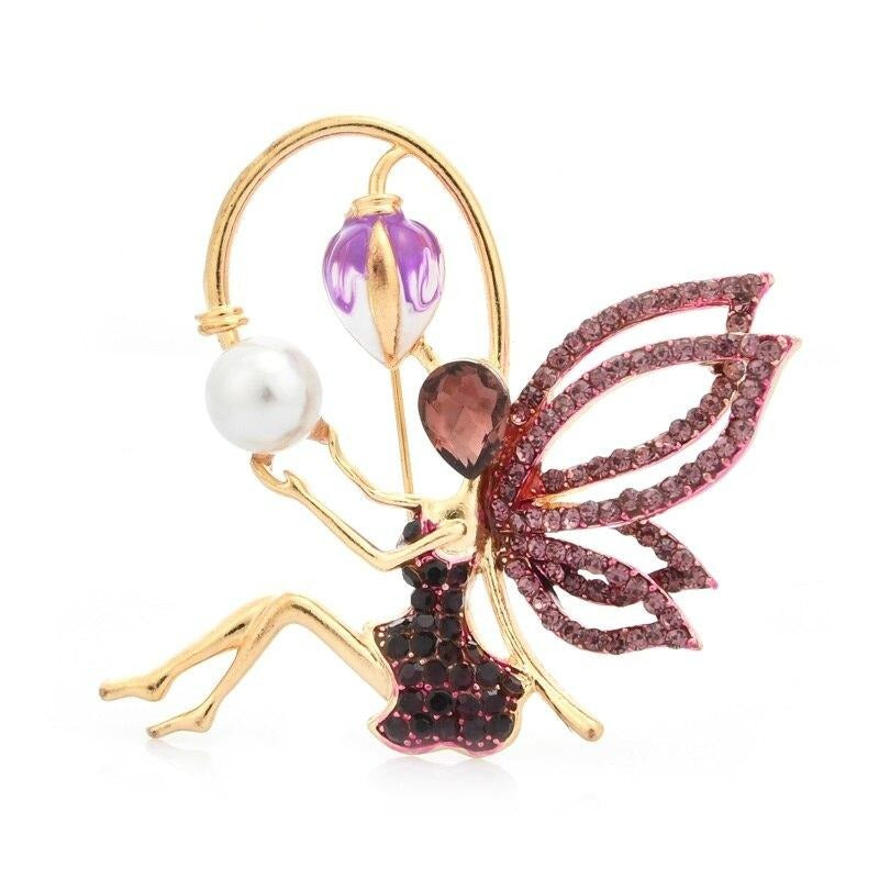 Rhinestone Angel Fairy Brooch Enamel Flower Wings Pins