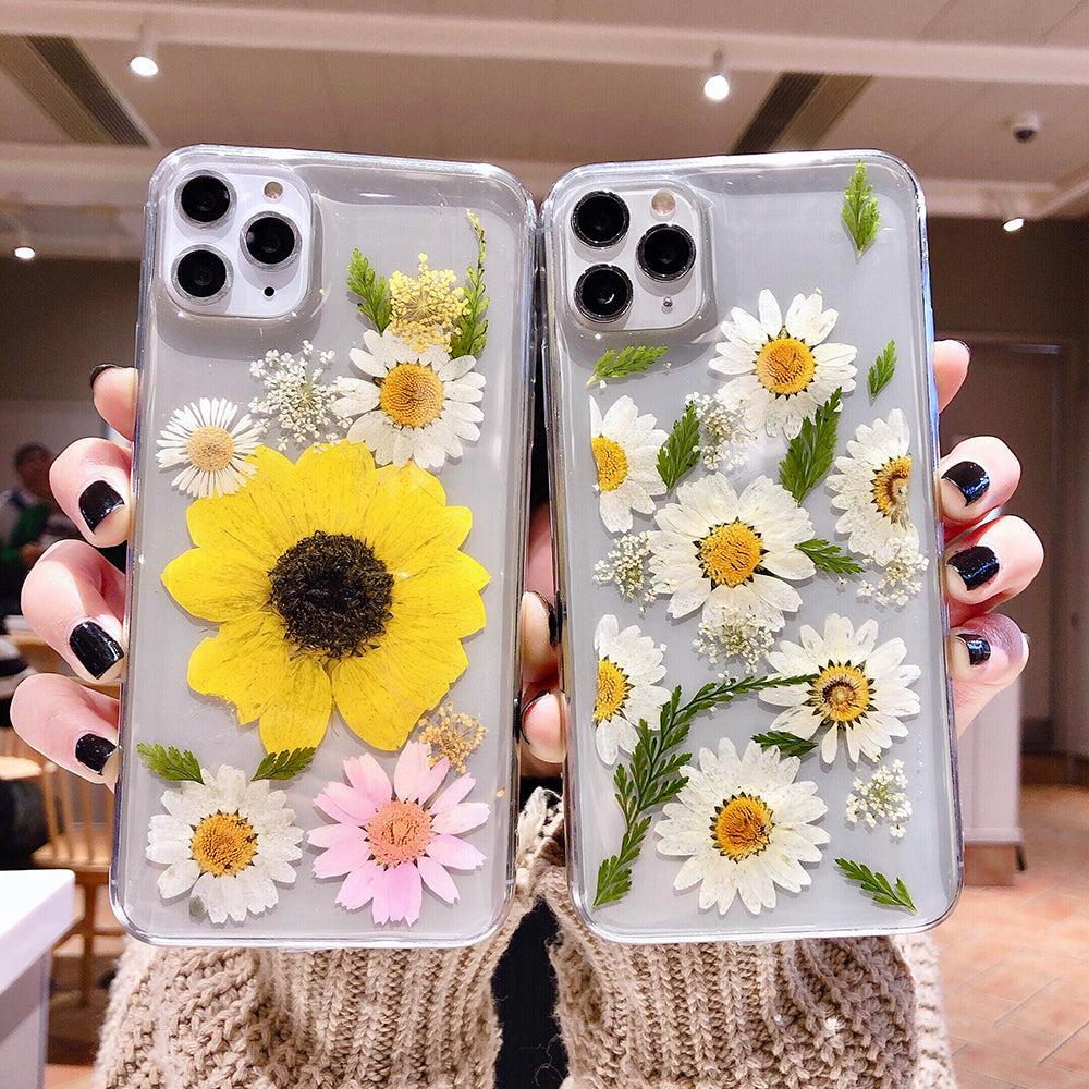 Vintage Natural Handmade Cute Real Dried Flower Daisy and Leaves Transparent Soft Phone Case for iPhone 11 Pro X/XS/XR Max 6/7/8 Plus