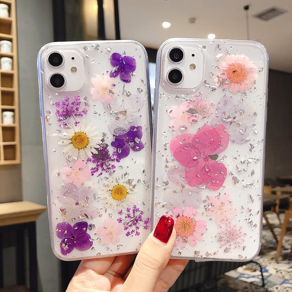 Natural Handmade Cute Real Dried Flower Transparent Soft Phone Case for iPhone 11 Pro X/XS/XR Max 6/7/8 Plus