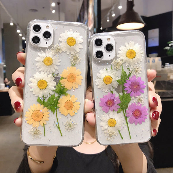 Dried Real Flower Phone Case For iPhone 11 Pro Max XR X XS Max 7 8 6S Plus