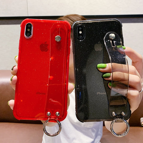 Glitter Powder Wrist Strap Transparent Phone Case For iPhone 11 Pro Max XR XS Max