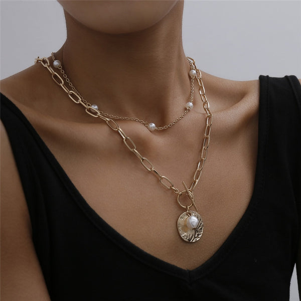 Baroque Pearl Coin Pendant Choker Necklace Wedding Jewelry Gift