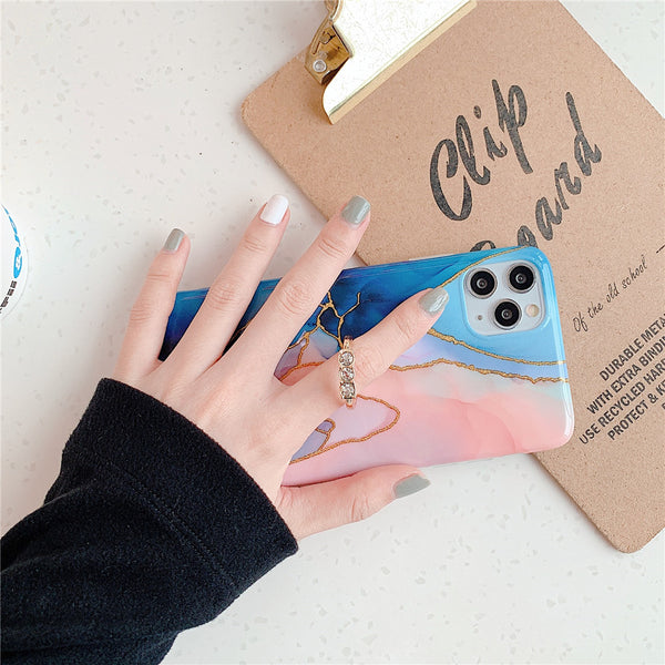 NEW Abstract Art Marble Gold Foil Blue Pink Silicone Phone Case for iPhone with Rhinestone Finger Ring
