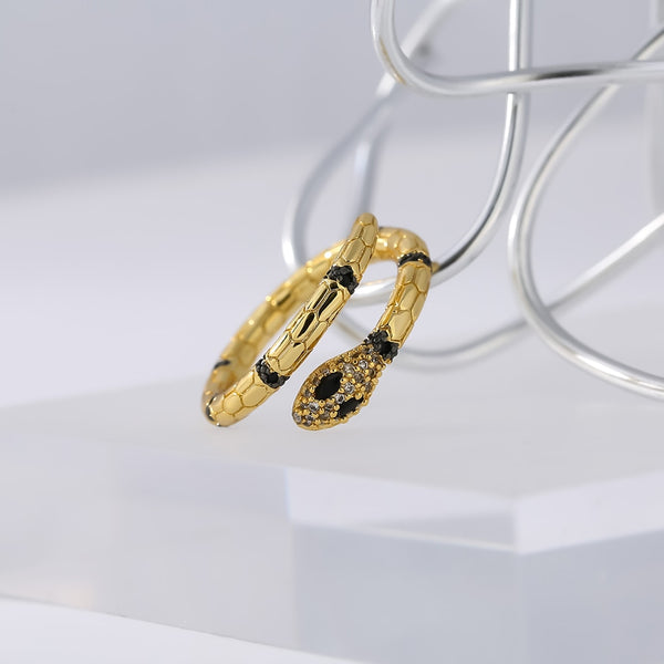 gold & CZ snake rings for women