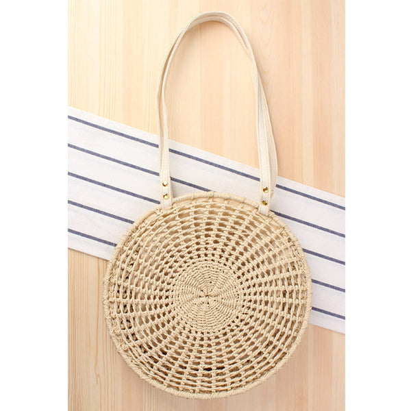 2020 NEW Summer Bohemian Woven Rattan Bag Fashion Wicker Circle Crossbody Straw Bag with Genuine Leather Strap